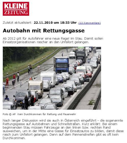 Rettungsgasse Kleine Zeitung 101122 seite 1 / Zum Vergrößern auf das Bild klicken