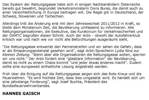 Rettungsgasse Kleine Zeitung 101122 Seite 2 / Zum Vergrößern auf das Bild klicken