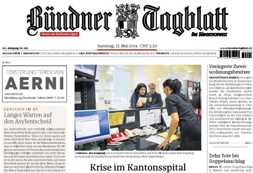 Zeitungen / Bündner Tagblatt / Zum Vergrößern auf das Bild klicken