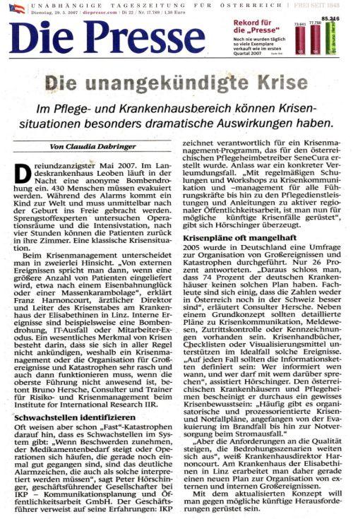 Artikel Die Presse 29.5.07, Krisenmanagement Krankenhaus / Zum Vergrößern auf das Bild klicken