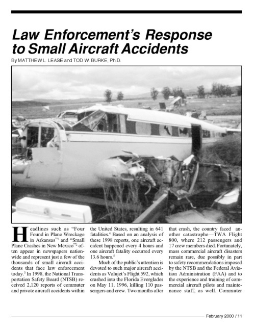 Law Enforcement`s Response to Small Aircract Accidents Titelseite