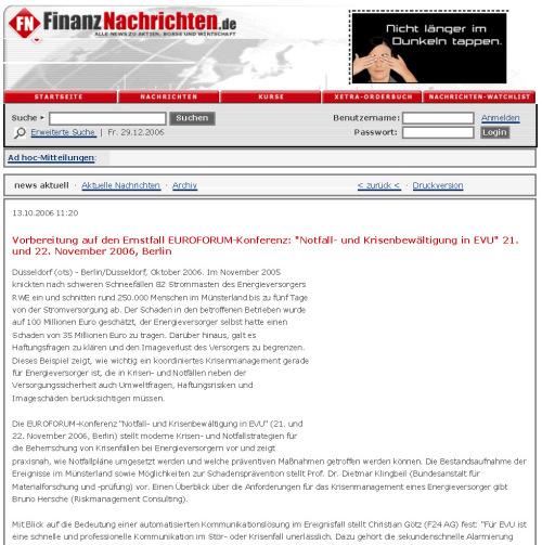 Pressemitteilung Finanznachrichten.de EUROFORUM-Tagung / Zum Vergrößern auf das Bild klicken