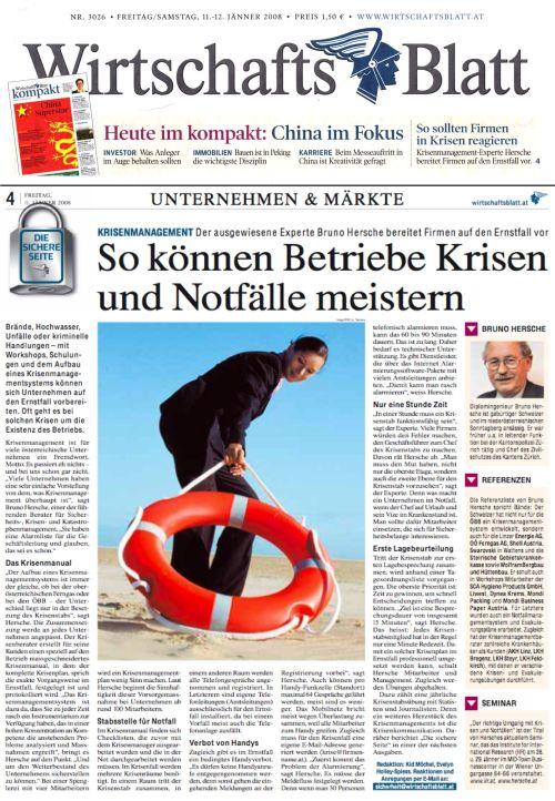 Artikel WirtschaftsBlatt Krisenmanagement Hersche / Zum Vergrößern auf das Bild klicken
