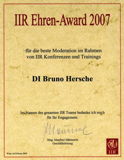 IIR Ehren Award 2007 / Zum Vergrößern auf das Bild klicken