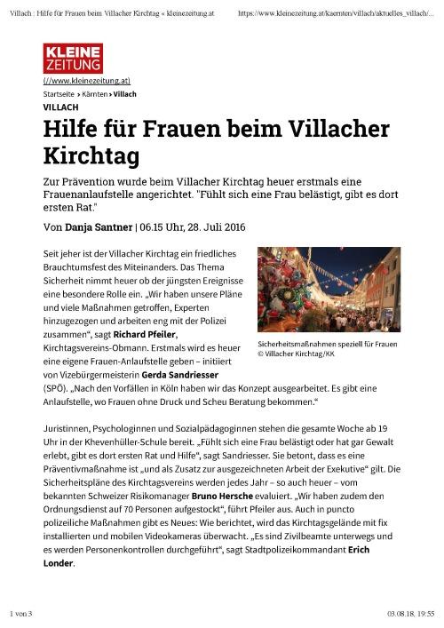 Kleine Zeitung / Kleine Zeitung: Sicherheit Villacher Kirchtag 2016 / Zum Vergrößern auf das Bild klicken