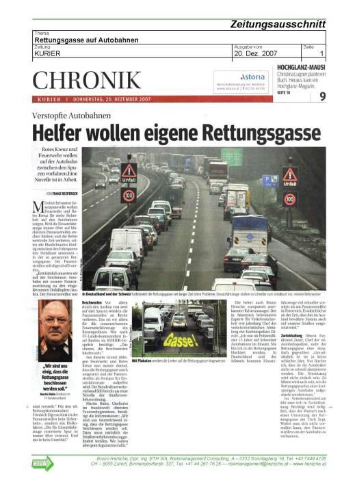 KURIER 20.12.07 zur Rettungsgasse / Zum Vergrößern auf das Bild klicken