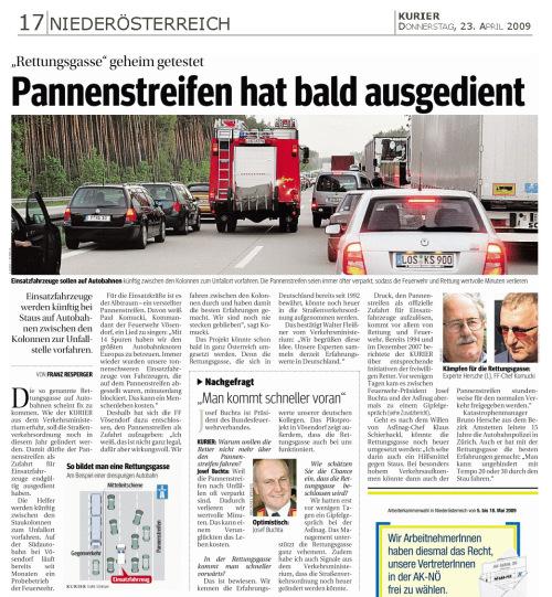 KURIER Rettungsgasse geheim getestet 090423_zugeschn / Zum Vergrößern auf das Bild klicken