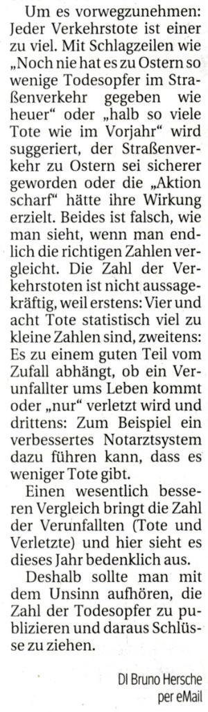 Leserbrief KURIER Statistik Verkehrstote 090417 / Zum Vergrößern auf das Bild klicken