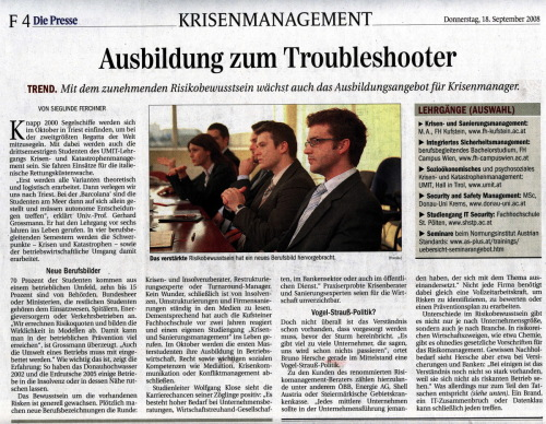 Presse: Ausbildung zum Troubleshooter / Zum Vergrößern auf das Bild klicken