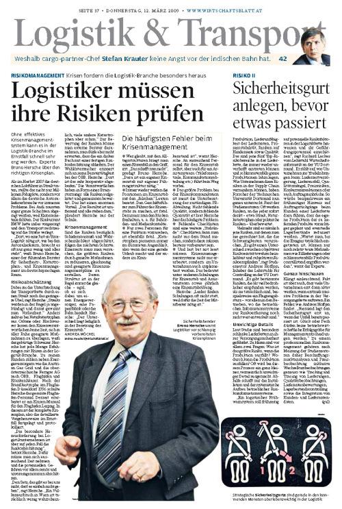 Wirtschaftsblatt 12.3.09 Logistik Hersche